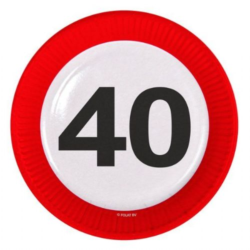 Traffic Sign 40th Party Plates 23cm 8's Birthday Tableware Table Disposable